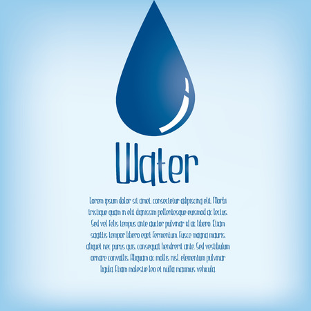 organic fluid: a blue background with text and a drop of water