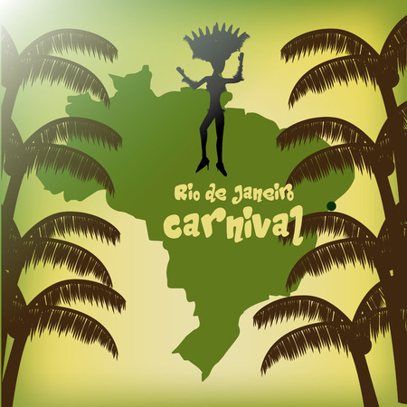 brazil beach swimsuit: a colored background with palm trees, the map of brazil and a woman in bikini