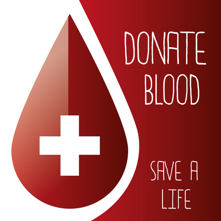 a red background with a drop of blood and text Vectores