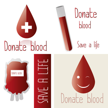 hematology: a set of different images with drops of blood, text and bags of blood Illustration