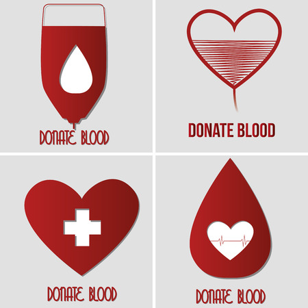 hematology: a set of grey backgrounds with text and different elements related to blood donation