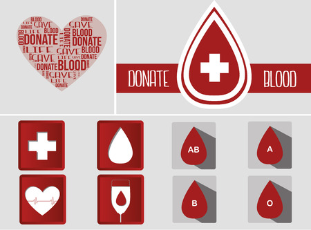 hematology: a set of grey backgrounds with different elements related to blood donation