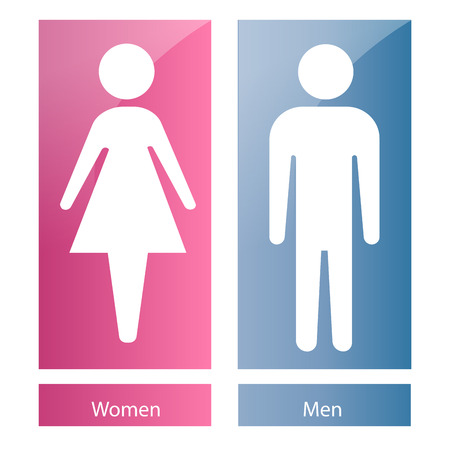 bathroom sign: a pair of bathroom signals with white silhouettes of both women and men
