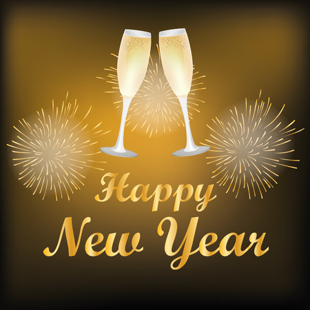 pair of glasses: a golden background with text and a pair of glasses with wine for new year