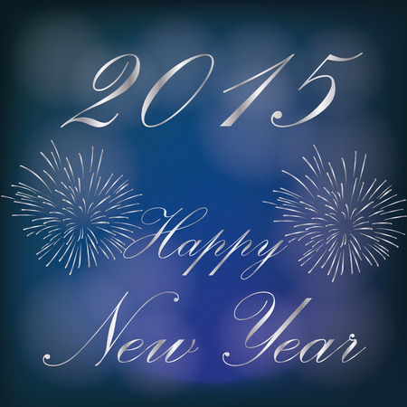 pyrotechnics: a blue background with text and pyrotechnics for new year