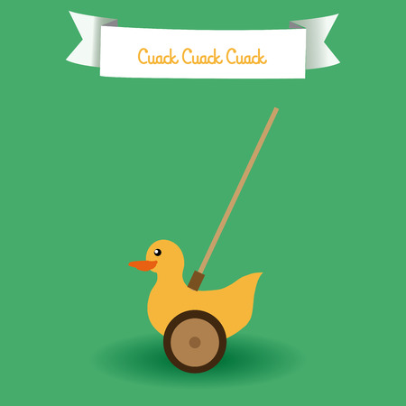 duck toy: an isolated duck toy on a green background with a ribbon Illustration