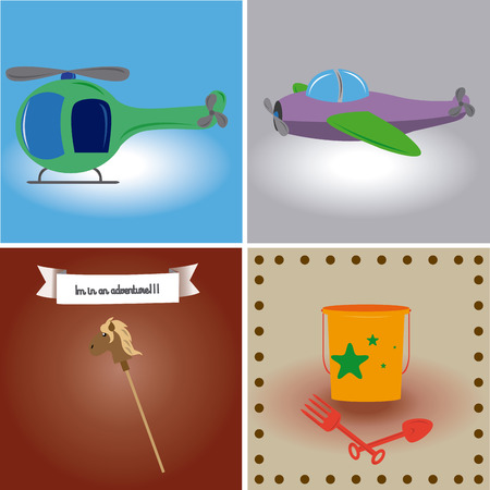 cartoon wood bucket: a set of colored backgrounds with different toys