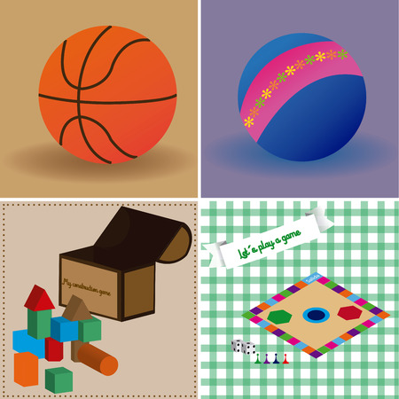 colored backgrounds: a set of colored backgrounds with different toys and balls Illustration