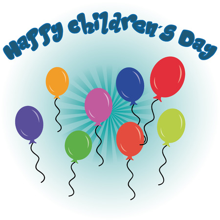 colored balloons: a group of colored balloons and text on a colored background for childrens day