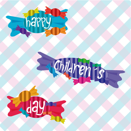 a group of candies on a colored background for children's day Stock Illustratie