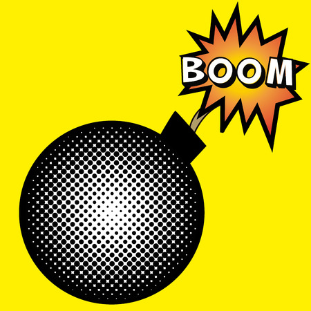 onomatopoeia: isolated comic speech bubble on a colored background.  Illustration
