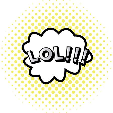 onomatopoeia: isolated comic speech bubble on a halftone background.