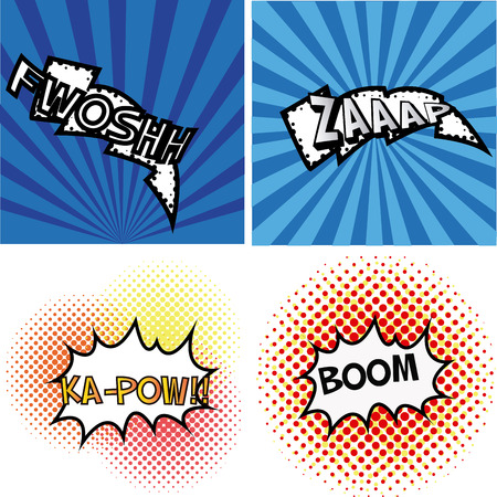 onomatopoeia: set of comic speech bubbles on colored backgrounds.