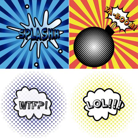onomatopoeia: set of comic speech bubbles on colored backgrounds. Vector illustration Illustration