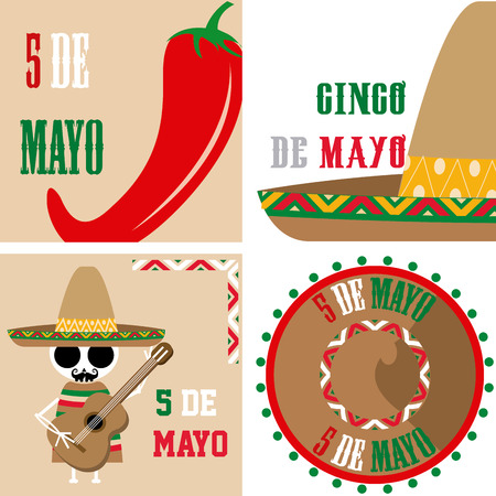 5th: Set of colored backgrounds with traditional elements for may 5th. Vector illustration Illustration