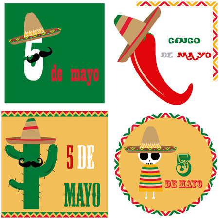 5th: Set of colored backgrounds with traditional elements for may 5th