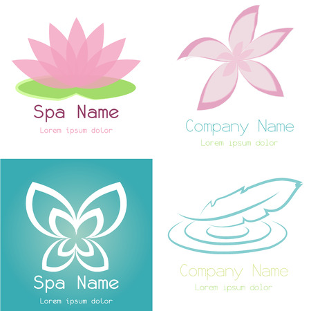 cosmetician: Set of spa icons on different colored backgrounds. Vector illustration
