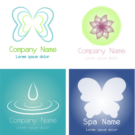 Set of spa icons on different colored backgrounds. Vector illustration Vector