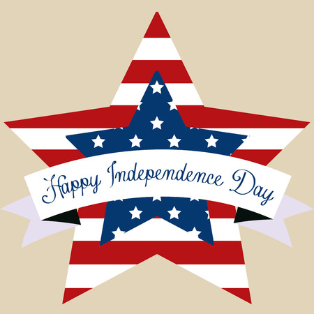 Colored background with elements for independence day. Vector illustration