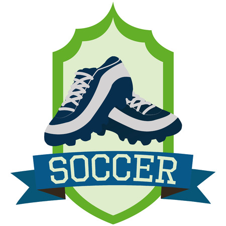 cleat: Isolated label with a pair of soccer shoes and a ribbon with text. Vector illustration Illustration