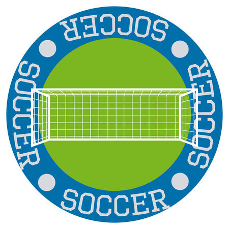 soccer net: Isolated round label with text and a soccer net. Vector illustration