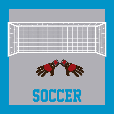 soccer net: Colored background with text, a pair of gauntlets and a soccer net. Vector illustration