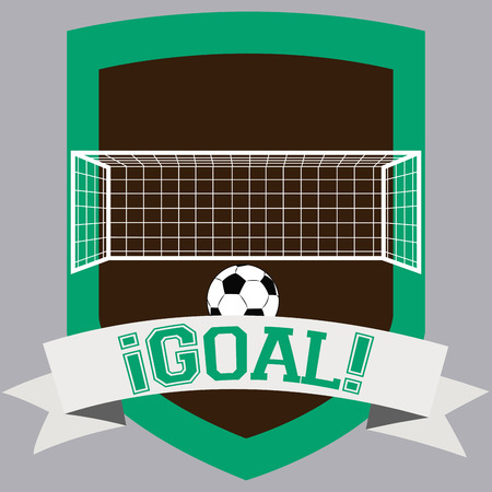soccer net: Isolated label with a soccer ball, a soccer net and a ribbon with text. Vector illustration