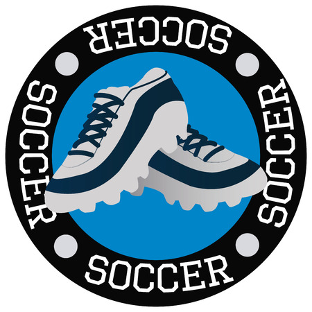 soccer shoes: Isolated label with text and soccer shoes. Vector illustration Illustration