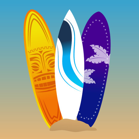 surfboards: Set of surfboards on a colored background. Vector illustration Illustration