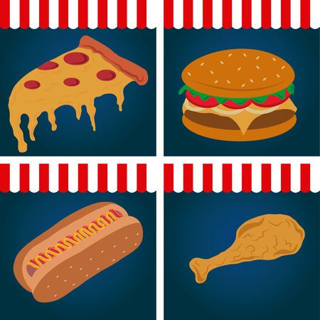 colored backgrounds: Set of colored backgrounds with fast food. Vector illustration Illustration