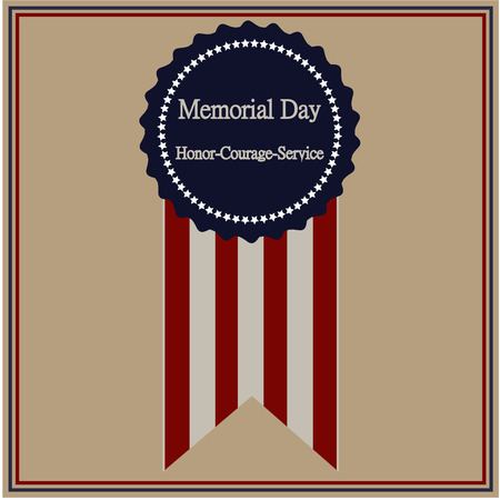 Colored background with text and elements for memorial day. Vector illustration Ilustração