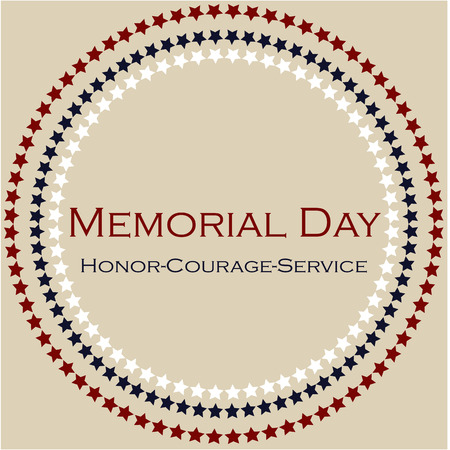 Colored background with text and elements for memorial day. Vector illustration Çizim