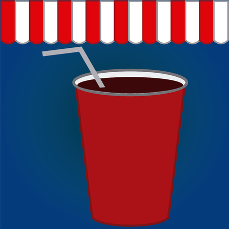 coke: Colored background with an isolated coke. Vector illustration