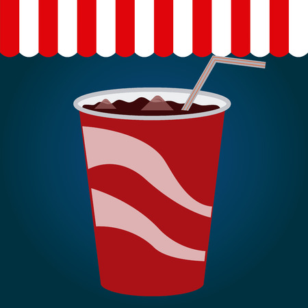 Colored background with an isolated coke. Vector illustration