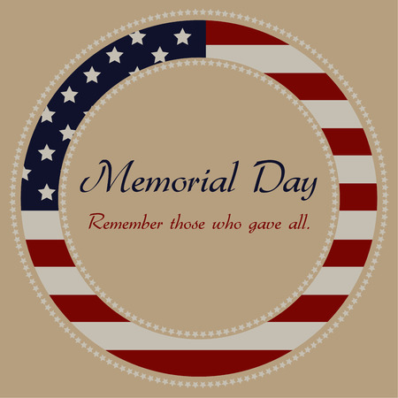 Colored background with text and elements for memorial day. Vector illustration Vettoriali