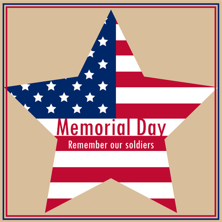 Colored background with text and elements for memorial day. Vector illustration Фото со стока - 39720556