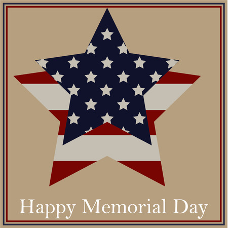 Colored background with text and elements for memorial day. Vector illustration Vectores