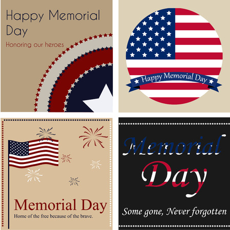 Set of backgrounds with text and elements for memorial day. Vector illustration Vector
