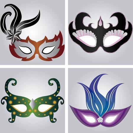 mardi grass: Set of carnival masks on different backgrounds. Vector illustration