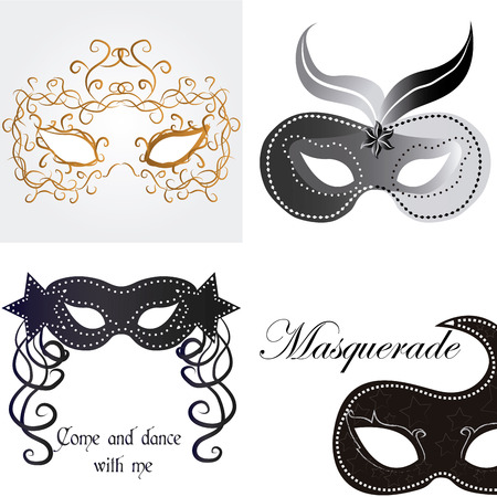 carnival masks: Set of carnival masks on different backgrounds. Vector illustration