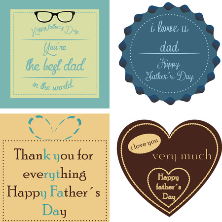 Set of backgrounds and labels with text and elements for father's day. Vector illustration