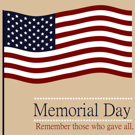 memorial day: Colored background with text and elements for memorial day. Vector illustration Illustration
