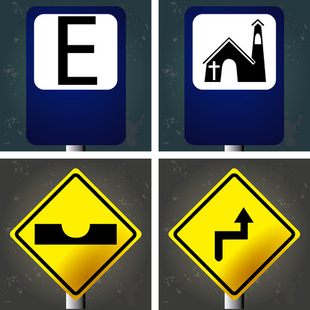 Set of textured backgrounds with traffic signals. Vector illustration Vector