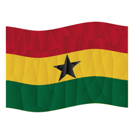 Isolated flag from ghana on a white background. Low Poly vector illustration