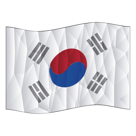 korean flag: Isolated south korean flag on a white background. Low Poly vector illustration