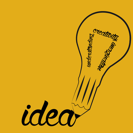 Isolated lightbulb with text on a yellow background. Vector illustration Illustration
