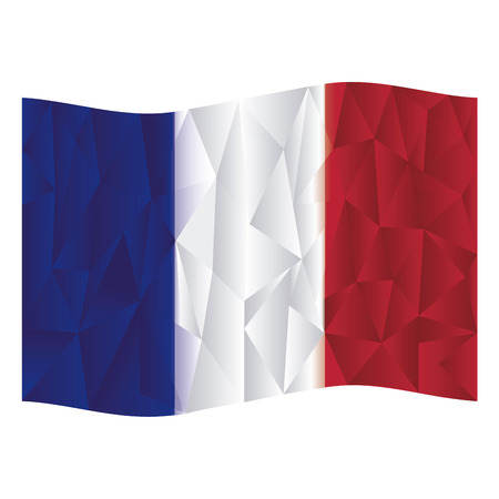 french flag: Isolated french flag on a white background. Low Poly vector illustration Illustration