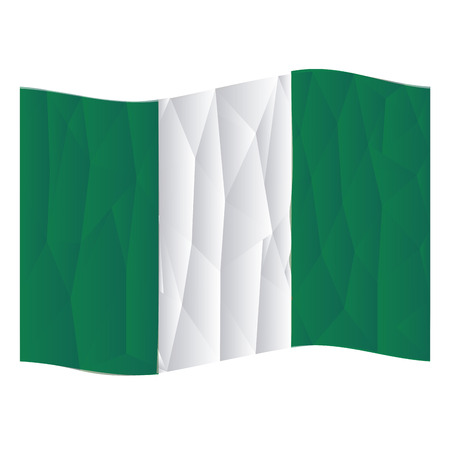 nigerian: Isolated nigerian flag on a white background. Low Poly vector illustration