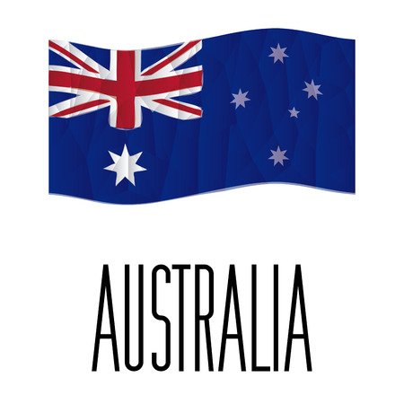 australische flagge: Isolated australische Flagge mit Text auf wei�em Hintergrund. Low Poly Vektor-Illustration Illustration