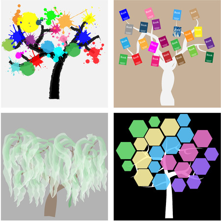 colored backgrounds: Set of abstract trees on colored backgrounds. Vector illustration Illustration